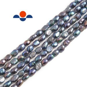 """Shop Freshwater Pearls! Peacock Fresh Water Pearl Side Drill Nugget Beads 4mm 6mm 8mm 10mm 14"""" Strand 
