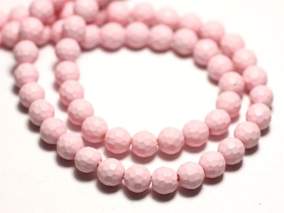 10pc - Natural Pearl Beads 6mm Light Pink Pastel - 8741140014459 Faceted Balls