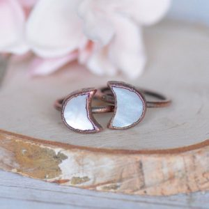 Shop Pearl Rings! Crescent Moon Ring, Electroformed Ring, Unique Gift for Her, Pearl Ring, Raw Stone Jewelry, Moon Phase Ring, Birthstone Jewelry, Boho Ring | Natural genuine Pearl rings, simple unique handcrafted gemstone rings. #rings #jewelry #shopping #gift #handmade #fashion #style #affiliate #ad