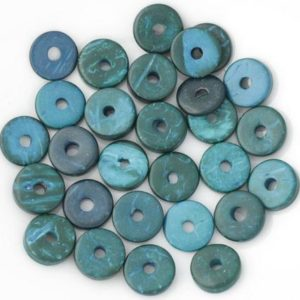 20pc – pearls Donuts coconut Rondelles 12mm blue green 4558550001306 | Natural genuine beads Gemstone beads for beading and jewelry making.  #jewelry #beads #beadedjewelry #diyjewelry #jewelrymaking #beadstore #beading #affiliate #ad