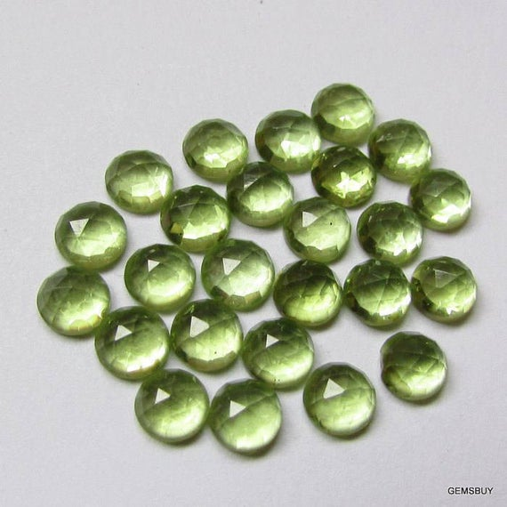 5 Pieces 5mm Peridot Rose Cut Cabochon Round Gemstone - 5mm Peridot Round Cabochon Rosecut Gemstone - Peridot Rose Cut Cabochon Round