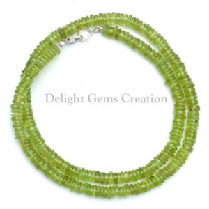 Shop Peridot Necklaces! Peridot Beaded Necklace, Natural Stone Party Wear Peridot Bead Necklace, 5-5.5mm Peridot Plain Tyre Beads Statement Necklace 18 to 24 Inches | Natural genuine Peridot necklaces. Buy crystal jewelry, handmade handcrafted artisan jewelry for women.  Unique handmade gift ideas. #jewelry #beadednecklaces #beadedjewelry #gift #shopping #handmadejewelry #fashion #style #product #necklaces #affiliate #ad