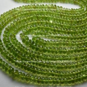 Shop Peridot Rondelle Beads! 8 Inches Strand,Natural Peridot Facetes Rondelle,Size 5-5.5mm | Natural genuine rondelle Peridot beads for beading and jewelry making.  #jewelry #beads #beadedjewelry #diyjewelry #jewelrymaking #beadstore #beading #affiliate #ad