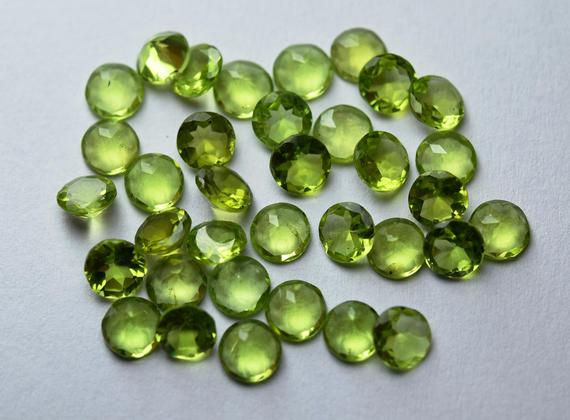 14 Pieces,natural Peridot Faceted Cut Stones Coin,loose Stones 6mm