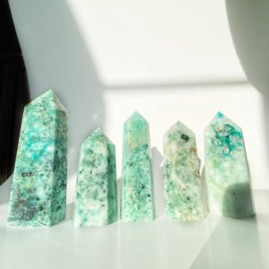Shop Chrysocolla Points & Wands! Phoenix Stone Towers Points *new batch* Chrysocolla Malachite Cuprite inclusions | Natural genuine stones & crystals in various shapes & sizes. Buy raw cut, tumbled, or polished gemstones for making jewelry or crystal healing energy vibration raising reiki stones. #crystals #gemstones #crystalhealing #crystalsandgemstones #energyhealing #affiliate #ad