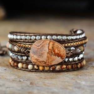 Shop Picture Jasper Jewelry! Natural Picture Jasper Gemstone Bracelet-Grounding Healing Balance Calming Meditation Bracelet-Anxiety Stress Relief Inner Peace Bracelet | Natural genuine Picture Jasper jewelry. Buy crystal jewelry, handmade handcrafted artisan jewelry for women.  Unique handmade gift ideas. #jewelry #beadedjewelry #beadedjewelry #gift #shopping #handmadejewelry #fashion #style #product #jewelry #affiliate #ad