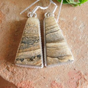 Shop Picture Jasper Earrings! Picture Jasper Earrings, Sterling Silver earrings, jasper earring, women's earring, handmade earring, dangle earring, Owyhee Earring, | Natural genuine Picture Jasper earrings. Buy crystal jewelry, handmade handcrafted artisan jewelry for women.  Unique handmade gift ideas. #jewelry #beadedearrings #beadedjewelry #gift #shopping #handmadejewelry #fashion #style #product #earrings #affiliate #ad