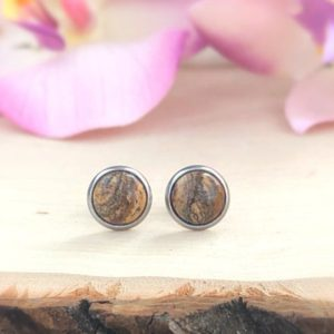 Shop Picture Jasper Jewelry! Picture Jasper Earrings Studs, 10MM Brown Natural Round Gemstone, Healing Crystal Stud, Silver, Earthy, Immune System, Balance, Inner Peace | Natural genuine Picture Jasper jewelry. Buy crystal jewelry, handmade handcrafted artisan jewelry for women.  Unique handmade gift ideas. #jewelry #beadedjewelry #beadedjewelry #gift #shopping #handmadejewelry #fashion #style #product #jewelry #affiliate #ad