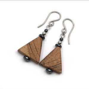 Shop Picture Jasper Earrings! Picture Jasper Earrings – Jasper 'Triangle' with Hematite | Natural genuine Picture Jasper earrings. Buy crystal jewelry, handmade handcrafted artisan jewelry for women.  Unique handmade gift ideas. #jewelry #beadedearrings #beadedjewelry #gift #shopping #handmadejewelry #fashion #style #product #earrings #affiliate #ad