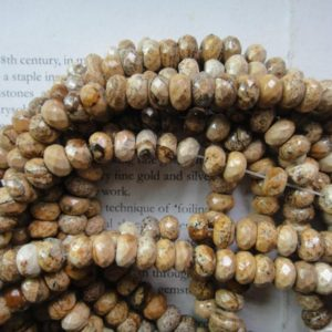 Shop Picture Jasper Faceted Beads! Picture jasper faceted rondelle beads, 5x8mm, 15.5 inch | Natural genuine faceted Picture Jasper beads for beading and jewelry making.  #jewelry #beads #beadedjewelry #diyjewelry #jewelrymaking #beadstore #beading #affiliate #ad