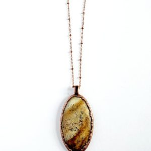 Shop Picture Jasper Necklaces! Picture Jasper Necklace // Electroformed Copper // Soldered Copper Chain | Natural genuine Picture Jasper necklaces. Buy crystal jewelry, handmade handcrafted artisan jewelry for women.  Unique handmade gift ideas. #jewelry #beadednecklaces #beadedjewelry #gift #shopping #handmadejewelry #fashion #style #product #necklaces #affiliate #ad