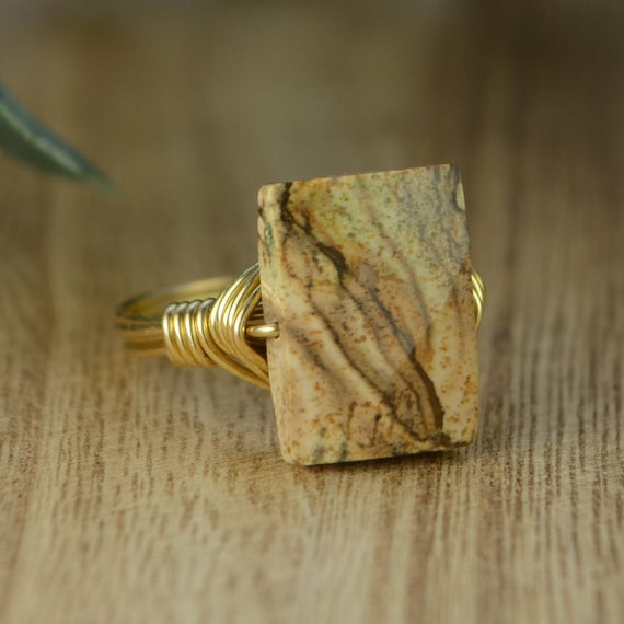 Picture Jasper Rectangular Ring- Sterling Silver, Yellow Or Rose Gold Filled Wire Wrapped Gemstone-size 4 5 6 7 8 9 10 11 12 13 14