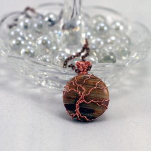 Picture Jasper Twisted Tree of Life Pendant Raw Copper Wire Wrapped Orange Brown Agate Cabochon with Chain | Natural genuine Gemstone jewelry. Buy crystal jewelry, handmade handcrafted artisan jewelry for women.  Unique handmade gift ideas. #jewelry #beadedjewelry #beadedjewelry #gift #shopping #handmadejewelry #fashion #style #product #jewelry #affiliate #ad