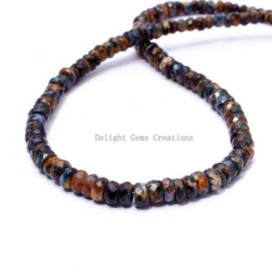 Shop Pietersite Necklaces! Pietersite Bead Necklace 4-5.5mm Pietersite Faceted Rondelle Beaded Necklace Blue Pietersite Gemstone Bridesmaid Necklace Thanksgiving Gift | Natural genuine Pietersite necklaces. Buy crystal jewelry, handmade handcrafted artisan jewelry for women.  Unique handmade gift ideas. #jewelry #beadednecklaces #beadedjewelry #gift #shopping #handmadejewelry #fashion #style #product #necklaces #affiliate #ad