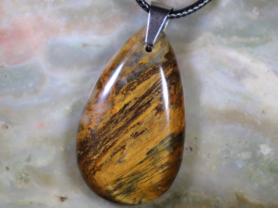 Unisex Pietersite Healing Stone Necklace With A Stainless Steel Bale And Positive Healing Energy!