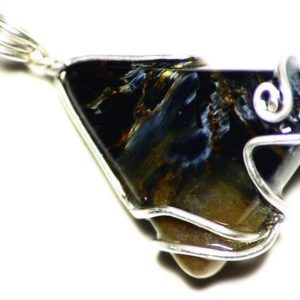 Shop Pietersite Pendants! Pietersite Necklace, Gold and Blue Pietersite Pendant, Triangle Pietersite in Sterling Silver, Pietersite Pear Jewelry, Water Gems Necklace | Natural genuine Pietersite pendants. Buy crystal jewelry, handmade handcrafted artisan jewelry for women.  Unique handmade gift ideas. #jewelry #beadedpendants #beadedjewelry #gift #shopping #handmadejewelry #fashion #style #product #pendants #affiliate #ad