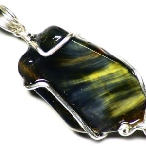Shop Pietersite Pendants! Pietersite Necklace, Yellow Pietersite Pendant, Namibian Pietersite in Sterling Silver, Blue Pietersite Jewelry, Tumbled Pietersite Rainbow | Natural genuine Pietersite pendants. Buy crystal jewelry, handmade handcrafted artisan jewelry for women.  Unique handmade gift ideas. #jewelry #beadedpendants #beadedjewelry #gift #shopping #handmadejewelry #fashion #style #product #pendants #affiliate #ad