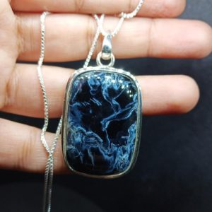 Shop Pietersite Pendants! Rare! AAA BLUE PIETERSITE pendant Natural Pietersite Gemstone pendant,sterling silver Blue Flash Smooth Pietersite necklace gift her him | Natural genuine Pietersite pendants. Buy crystal jewelry, handmade handcrafted artisan jewelry for women.  Unique handmade gift ideas. #jewelry #beadedpendants #beadedjewelry #gift #shopping #handmadejewelry #fashion #style #product #pendants #affiliate #ad