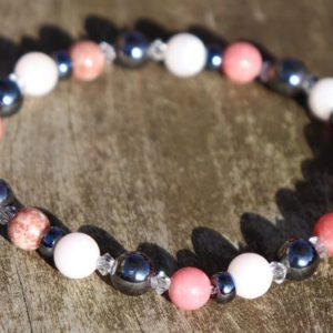 Shop Pink Calcite Jewelry! Pink Calcite, Thulite and Hematite Healing Stone Bracelet or Anklet!   Natural genuine Pink Calcite jewelry. Buy crystal jewelry, handmade handcrafted artisan jewelry for women.  Unique handmade gift ideas. #jewelry #beadedjewelry #beadedjewelry #gift #shopping #handmadejewelry #fashion #style #product #jewelry #affiliate #ad