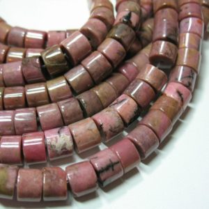 "Shop Rhodonite Bead Shapes! Pink Rhodonite 5-6mmx8mm Heishi Tube Beads 7.5"" Strand Natural Gemstone 