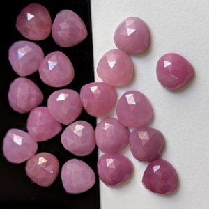 8mm Pink Sapphire Faceted Heart Shape Cabochon, Natural Pink Sapphire Flat Back Heart Stone For Jewelry (5Pcs To 10 Pcs Option) – PDG301 | Natural genuine stones & crystals in various shapes & sizes. Buy raw cut, tumbled, or polished gemstones for making jewelry or crystal healing energy vibration raising reiki stones. #crystals #gemstones #crystalhealing #crystalsandgemstones #energyhealing #affiliate #ad