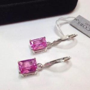 BEAUTIFUL 5ctw Emerald Cut Pink Sapphire Sterling Silver Drop Dangle Earrings Lever Jewelry Trending Jewelry and Gemstones Pink Gemstone Gif | Natural genuine Gemstone earrings. Buy crystal jewelry, handmade handcrafted artisan jewelry for women.  Unique handmade gift ideas. #jewelry #beadedearrings #beadedjewelry #gift #shopping #handmadejewelry #fashion #style #product #earrings #affiliate #ad