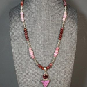 Shop Pink Calcite Jewelry! Pink Tourmaline and Cobalto Calcite Druzy Pendant Necklace Bench Made Silver Beads Peruvian Pink Opal Toggle Clasp   Natural genuine Pink Calcite jewelry. Buy crystal jewelry, handmade handcrafted artisan jewelry for women.  Unique handmade gift ideas. #jewelry #beadedjewelry #beadedjewelry #gift #shopping #handmadejewelry #fashion #style #product #jewelry #affiliate #ad