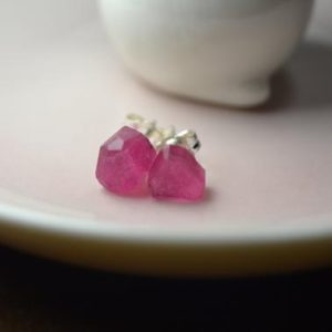 Shop Pink Tourmaline Earrings! Raw Pink Tourmaline Studs in Sterling Silver, 14k Gold // Rubellite Tourmaline // Tourmaline Crystal // October Birthstone // Crystal Posts | Natural genuine Pink Tourmaline earrings. Buy crystal jewelry, handmade handcrafted artisan jewelry for women.  Unique handmade gift ideas. #jewelry #beadedearrings #beadedjewelry #gift #shopping #handmadejewelry #fashion #style #product #earrings #affiliate #ad