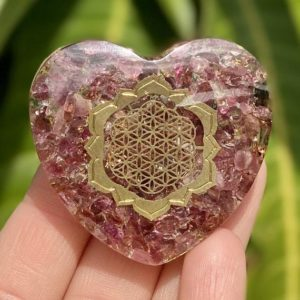Shop Pink Tourmaline Shapes! Pink Tourmaline Orgonite Heart with Flower of Life Symbol, Orgonite Heart, Orgone, Copper, Tourmaline, Flower of Life | Natural genuine stones & crystals in various shapes & sizes. Buy raw cut, tumbled, or polished gemstones for making jewelry or crystal healing energy vibration raising reiki stones. #crystals #gemstones #crystalhealing #crystalsandgemstones #energyhealing #affiliate #ad
