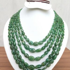 Shop Emerald Bead Shapes! Precious Emerald Necklace ~~ Natural Zambian Emerald's Oval Beads Necklace ~~ 5 Strands ~~ 4×6 to 12×17 mm ~~ 20 to 25 Inches Strands. | Natural genuine other-shape Emerald beads for beading and jewelry making.  #jewelry #beads #beadedjewelry #diyjewelry #jewelrymaking #beadstore #beading #affiliate #ad