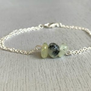 Real Prehnite Jewelry, Dainty Prehnite Bracelet, Love Stone, Gift Idea for Friend, Crystal Healing, Minimalist Bracelet, Layering Bracelet | Natural genuine Gemstone bracelets. Buy crystal jewelry, handmade handcrafted artisan jewelry for women.  Unique handmade gift ideas. #jewelry #beadedbracelets #beadedjewelry #gift #shopping #handmadejewelry #fashion #style #product #bracelets #affiliate #ad