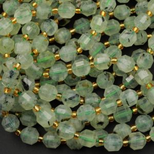 "Shop Prehnite Faceted Beads! AAA Natural Prehnite 8mm 10mm Beads Faceted Energy Prism Double Terminated Point Cut 15.5"" Strand 