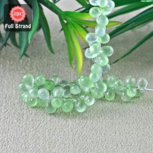 Shop Prehnite Bead Shapes! Natural Prehnite 10-12.5mm Briolette Drops Shape Gemstone Beads / Approx. 68 Pieces On 8 Inch Long Strand / Jbc-et-156774 | Natural genuine other-shape Prehnite beads for beading and jewelry making.  #jewelry #beads #beadedjewelry #diyjewelry #jewelrymaking #beadstore #beading #affiliate #ad