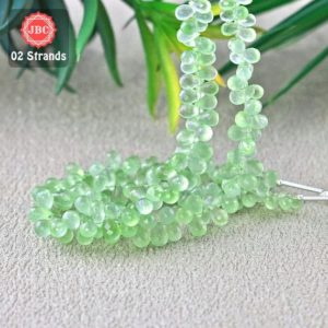 Shop Prehnite Bead Shapes! Natural Prehnite 6-9mm Briolette Drops Shape Gemstone Beads / Approx 186 Pieces On 2 Strands Of 8 Inch Length / Jbc-et-156759 | Natural genuine other-shape Prehnite beads for beading and jewelry making.  #jewelry #beads #beadedjewelry #diyjewelry #jewelrymaking #beadstore #beading #affiliate #ad