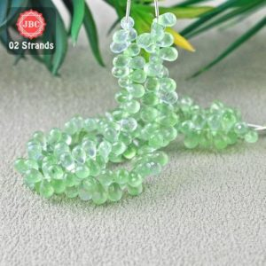 Shop Prehnite Bead Shapes! Natural Prehnite 8-10mm Briolette Drops Shape Gemstone Beads / Approx 158 Pieces On 2 Strands Of 8 Inch Length / Jbc-et-156767 | Natural genuine other-shape Prehnite beads for beading and jewelry making.  #jewelry #beads #beadedjewelry #diyjewelry #jewelrymaking #beadstore #beading #affiliate #ad