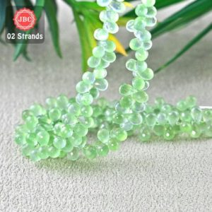 Shop Prehnite Bead Shapes! Natural Prehnite 8-10mm Briolette Drops Shape Gemstone Beads / Approx 164 Pieces On 2 Strands Of 8 Inch Length / Jbc-et-156758 | Natural genuine other-shape Prehnite beads for beading and jewelry making.  #jewelry #beads #beadedjewelry #diyjewelry #jewelrymaking #beadstore #beading #affiliate #ad
