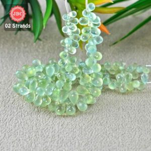 Shop Prehnite Bead Shapes! Natural Prehnite 8-12mm Briolette Drops Shape Gemstone Beads / Approx 164 Pieces On 2 Strands Of 8 Inch Length / Jbc-et-156773 | Natural genuine other-shape Prehnite beads for beading and jewelry making.  #jewelry #beads #beadedjewelry #diyjewelry #jewelrymaking #beadstore #beading #affiliate #ad