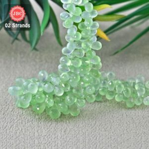Shop Prehnite Bead Shapes! Natural Prehnite 9-10mm Briolette Drops Shape Gemstone Beads / Approx 167 Pieces On 2 Strands Of 8 Inch Length / Jbc-et-156770 | Natural genuine other-shape Prehnite beads for beading and jewelry making.  #jewelry #beads #beadedjewelry #diyjewelry #jewelrymaking #beadstore #beading #affiliate #ad