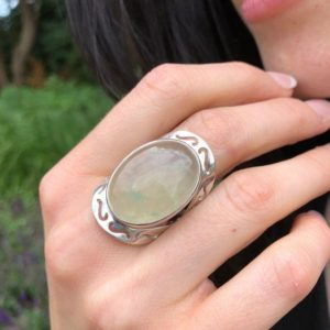 Shop Prehnite Rings! Prehnite Ring, Natural Prehnite, May Birthstone, Tribal Ring, Statement Ring, Massive Ring, Heavy Ring, Big Green Ring, Solid Silver Ring | Natural genuine Prehnite rings, simple unique handcrafted gemstone rings. #rings #jewelry #shopping #gift #handmade #fashion #style #affiliate #ad
