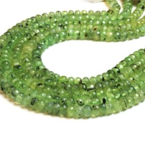 Prehnite Rondelle Beads, faceted Prehnite, gemstone Beads, green Gem Beads, semiprecious Beads, loose Beads, prehnite Necklace – 16″ Strand | Natural genuine rondelle Prehnite beads for beading and jewelry making.  #jewelry #beads #beadedjewelry #diyjewelry #jewelrymaking #beadstore #beading #affiliate #ad