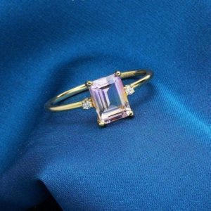 Purple Devotion Natural Ametrine Ring, Emerald Cut, 14K Yellow Gold Plated 925 Sterling Silver, Gold Ring, Engagement Ring, Statement Ring | Natural genuine Gemstone rings, simple unique alternative gemstone engagement rings. #rings #jewelry #bridal #wedding #jewelryaccessories #engagementrings #weddingideas #affiliate #ad