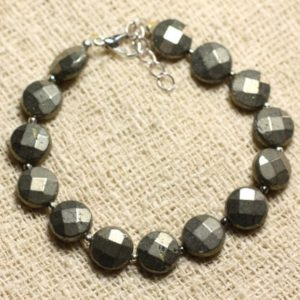 Shop Pyrite Bracelets! Bracelet 925 sterling silver and stone – Pyrite faceted beads 10mm | Natural genuine Pyrite bracelets. Buy crystal jewelry, handmade handcrafted artisan jewelry for women.  Unique handmade gift ideas. #jewelry #beadedbracelets #beadedjewelry #gift #shopping #handmadejewelry #fashion #style #product #bracelets #affiliate #ad