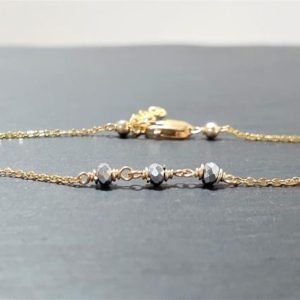 Shop Pyrite Bracelets! Dainty Two Toned Anklet, Silver Pyrite Ankle Bracelet / Handmade Jewelry / Anklets for Women, Gold Chain Anklet, Stacked Anklet, Delicate | Natural genuine Pyrite bracelets. Buy crystal jewelry, handmade handcrafted artisan jewelry for women.  Unique handmade gift ideas. #jewelry #beadedbracelets #beadedjewelry #gift #shopping #handmadejewelry #fashion #style #product #bracelets #affiliate #ad