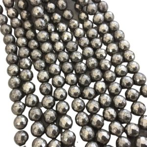 """Shop Pyrite Faceted Beads! 10mm Faceted Natural Metallic Pyrite Round/Ball Shaped Beads with 1mm Holes – Sold by 15.5"""" Strands (Approx. 40 Beads) – Quality Gemstone 