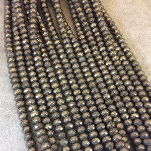 """Shop Pyrite Faceted Beads! 4mm x 6mm Faceted Metallic Pyrite Rondelle Shaped Beads with 1mm Holes – 16"""" Strand (Approx. 98 Beads) – Natural Semi-Precious Gemstone 