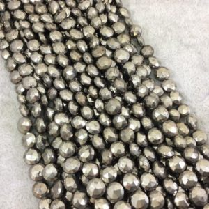 """Shop Pyrite Faceted Beads! 7-8mm Faceted Coin Shaped Natural Pyrite Beads – 9.5"""" Strand (Approximately 34 Beads) – High Quality Hand-Cut Indian Semi-Precious Gemstone 