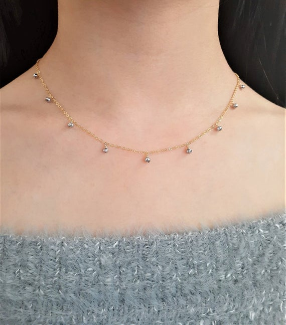 Silver Pyrite Necklace, Two-toned Necklace / Handmade Jewelry/  Simple Gold Necklace, Two-toned Choker, Necklaces For Women, Dainty Choker