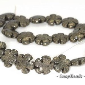 15MM Iron Pyrite Intrusion Gemstone Black Gold Flower Flora Loose Beads 15.5 inch Full Strand LOT 1,2,6,12 and 20 (90144893-415) | Natural genuine other-shape Gemstone beads for beading and jewelry making.  #jewelry #beads #beadedjewelry #diyjewelry #jewelrymaking #beadstore #beading #affiliate #ad
