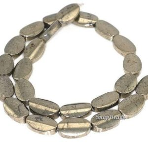 Shop Pyrite Bead Shapes! 18x13mm Palazzo Iron Pyrite Gemstone Concave Oval 18x13mm Loose Beads 15.5 inch Full Strand LOT 1,2,6,12 and 20 (90145106-411) | Natural genuine other-shape Pyrite beads for beading and jewelry making.  #jewelry #beads #beadedjewelry #diyjewelry #jewelrymaking #beadstore #beading #affiliate #ad