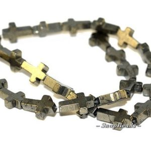 Shop Pyrite Bead Shapes! FREE USA Ship Palazzo Iron Pyrite Gemstones Cross 15X10MM Loose Beads 16 inch Full Strand LOT 1,2,6,12 and 20 (90107074-136) | Natural genuine other-shape Pyrite beads for beading and jewelry making.  #jewelry #beads #beadedjewelry #diyjewelry #jewelrymaking #beadstore #beading #affiliate #ad